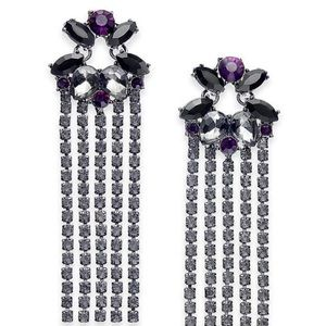 INC Crystal Fringe Drop Statement Earrings-NWT